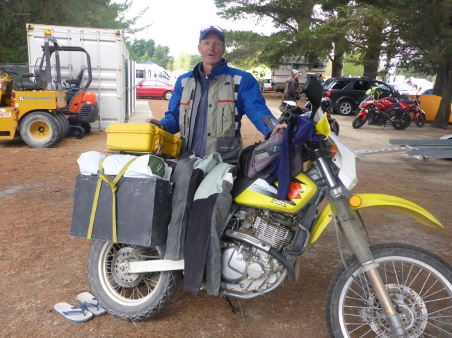 Barry, from Byron Bay in Australia, with his borrowed Suzuki DR650.