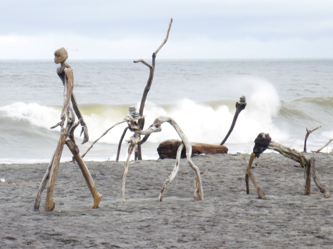 Life of Man. One of the exhibits in the annual Hokitika driftwood sculpture competition.