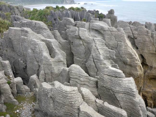 Strange rock formations on the Westland coast.