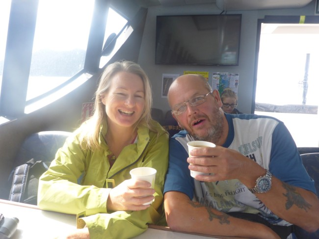 Bronwyn and Guy enjoying tea together on the boat.