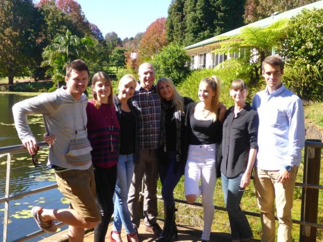 The Peacock family, plus boyfriends.