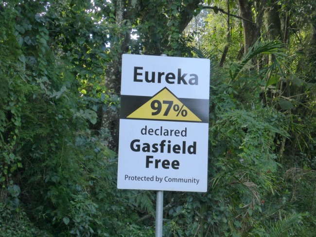 97% of the residents of Eureka are against gas field drilling in their area.