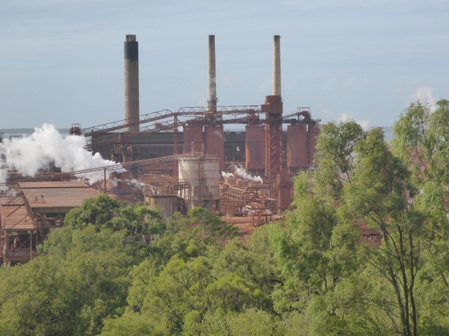 Big and red. The QAL bauxite smelting plant.