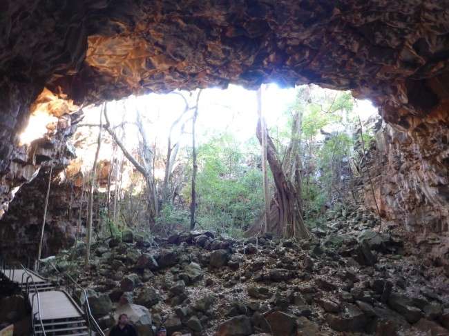 Arched entrance to a lava tube.