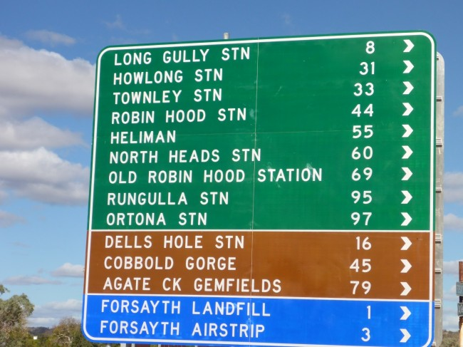 One of the signs along it, giving us some idea of the number of stations the road leads to and also how remote they are.
