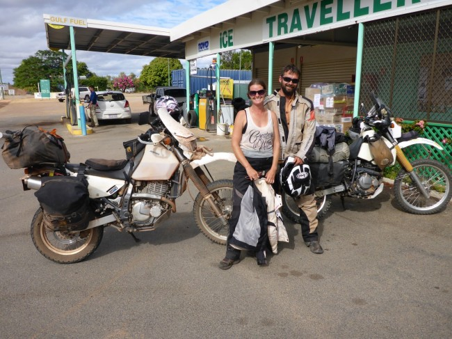 Luke and Casey. DR650 mounted Aussie adventurers.