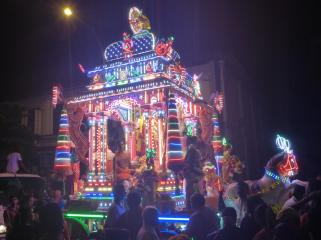 The chariot bearing the image of Subramaniam.