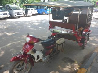 These neat looking carriages are the most common type of tuk tuk.