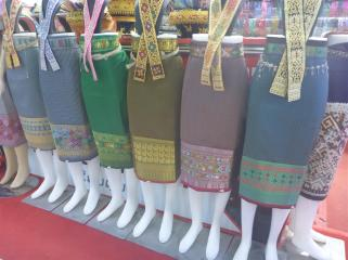 It was common to see women wearing skirts with this pattern on. Clearly a traditional way of decoration.