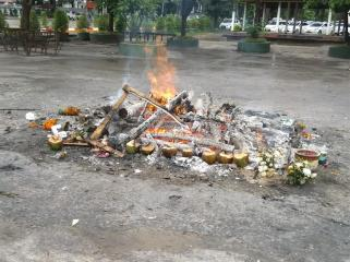 The 'last remains' of a Chinese style cremation.