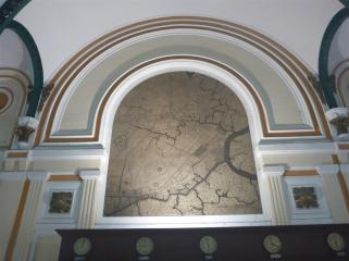 One of the city maps decorating the wall.