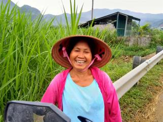 Cheerful local woman.